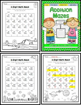 Addition with Regrouping Practice Math Mazes
