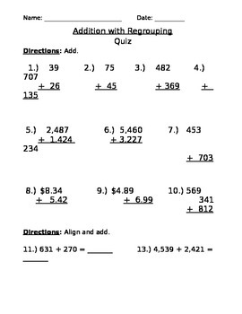 Addition with Regrouping Quiz