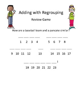 Addition with Regrouping: Review Game- Mystery Joke