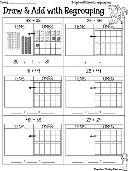 Addition with Regrouping Strategies (Draw & Add, Decompose, & Open Number Line)
