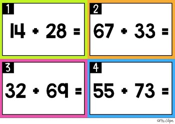 Addition with Regrouping   Task Cards: