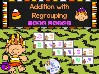 #dollardeals Addition with Regrouping Task Cards