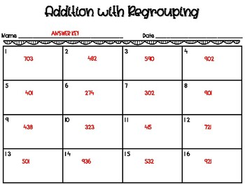 Addition with Regrouping Task Cards