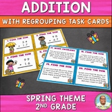 Addition with Regrouping Task Cards (Spring Theme)