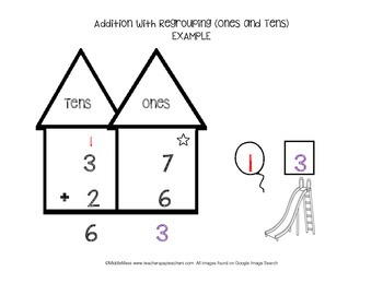 addition with regrouping tens and ones math mat by middlemess tpt. Black Bedroom Furniture Sets. Home Design Ideas