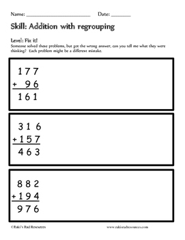 Addition with Regrouping Tiered Math Activity