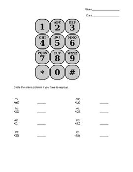 Addition with Regrouping (Using a Phone Pad)