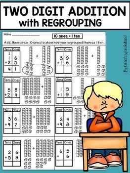 double digit addition with regrouping worksheets by dana 39 s. Black Bedroom Furniture Sets. Home Design Ideas