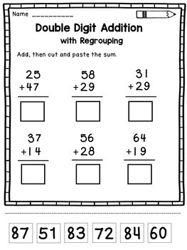 double digit addition with regrouping worksheets by dana 39 s wonderland. Black Bedroom Furniture Sets. Home Design Ideas