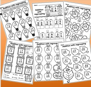 Addition with Regrouping Worksheets Fun Set