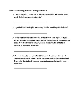 Addition with Regrouping assessment