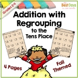 Double Digit Addition with Regrouping:  Fall Theme