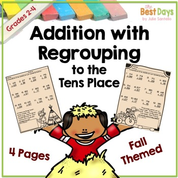 Regrouping Addition into the Tens Place Fall Theme