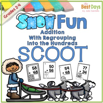 3 Digit Addition with Regrouping  Scoot:  Winter Themed