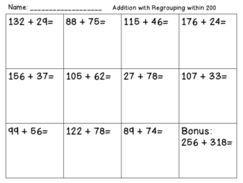 Addition with Regrouping within 200