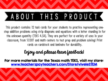 Addition with Strip Diagrams & Equations Match-Up Cards {TEKS 4.5A}