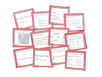 Addition with Sums to 100 Task Cards: SECOND GRADE