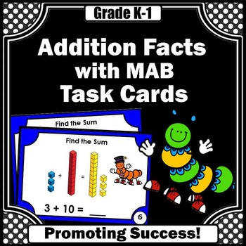 Addition Facts up to 20 MAB Task Cards Kindergarten Math C