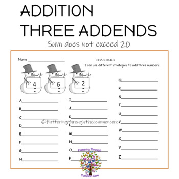 Addition with Three Addends Answer Key Included (sums to 20)