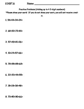 Addition with Up to 4 Two-Digit Numbers Practice Sheet