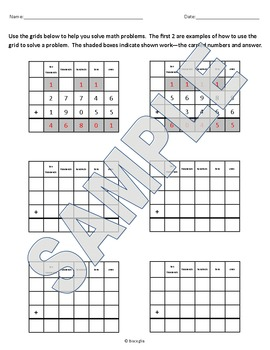 Addition with grids to align numbers