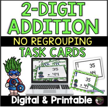 2 Digit Addition NO regrouping (Superhero theme) Task Cards