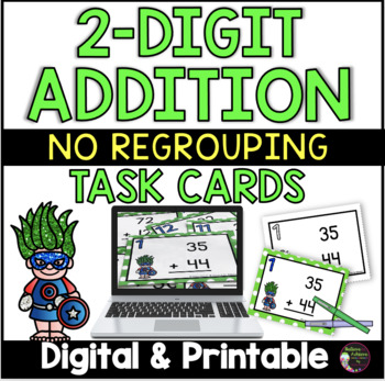 2 Digit Addition NO regrouping (Superhero theme) Task Cards