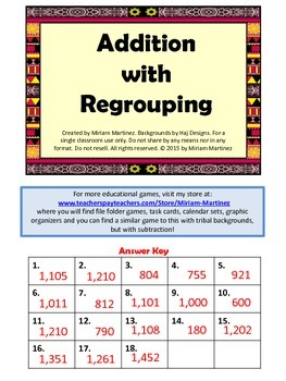 Addition with regrouping. Task Cards