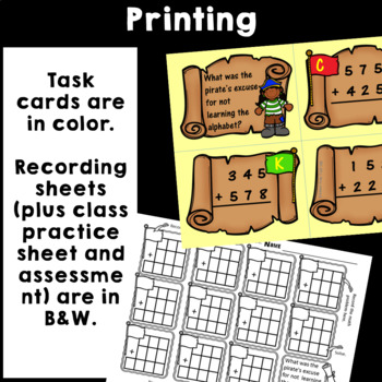 Addition with regrouping Task Cards with Pirate Riddles (3 digit numbers)