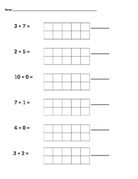 Addition with sums within 10 using 10 frames
