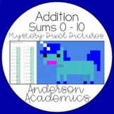 Addition within 10 Math Pixel Puzzle (Unicorn)