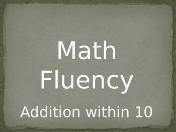 Math Fluency Addition within 10 PowerPoint Slides