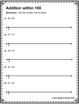 Addition within 100 on Open Number Line #2