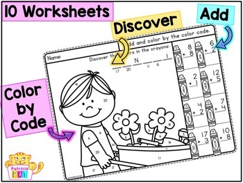 Color by Code Addition to 20 Worksheets Spring Math