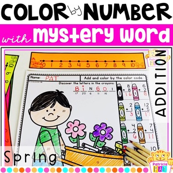 Color by Number for Spring Addition to 20 with Mystery Word