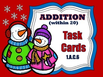 Addition within 20 Task Cards - Winter