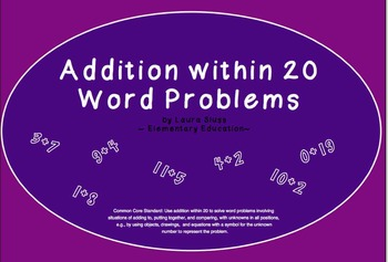 Addition within 20 - Word Problems - INTERACTIVE Smartboard Lessons