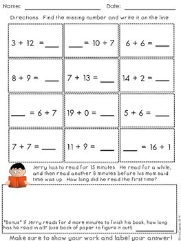 Addition within 20 fluency mental math (English Version)