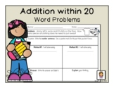Addition within 20 word problems (1st Grade math) Result unknown English version