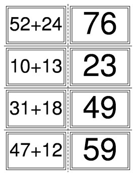 Addition without Regrouping Flashcards (40 cards) (2 digits)