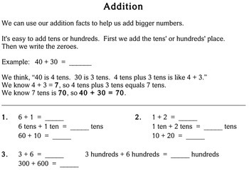 Addition without Regrouping, 1st / 2nd grade - worksheets - Individualized Math