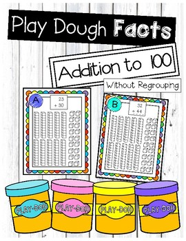 Addition without Regrouping Play Dough Task Cards