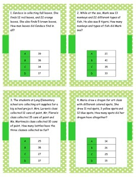 Addition without regrouping: problem solving task cards