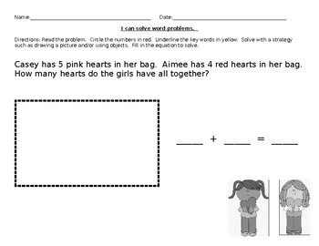 Addition word problem Exit Ticket