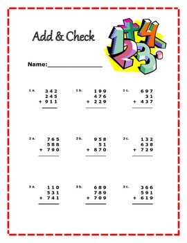Addition worksheet- 3 digit addition problems
