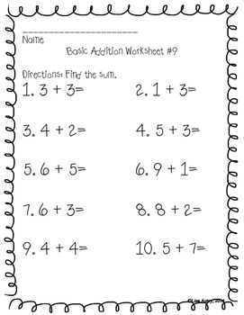 Addition worksheets (basic addition)