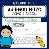 Addition worksheets to 10 - Maze run - Self-check math center work NO PREP