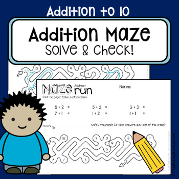 Addition worksheets to 10 - Maze run - Self-check math center work NO PREP
