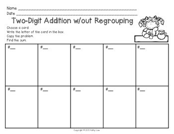 Addition w/out Regrouping Task Cards