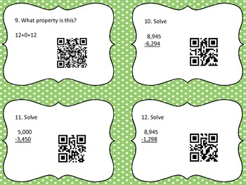 Addition/Subraction Properties QR Code Cards